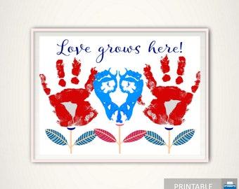 Love Grows Here Handprint Art - Handprint Keepsake, Love Grows Here Print, Personalized, Baby Footprint Art, Baby Keepsake, DOWNLOAD DIY