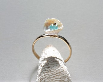 White Pearl Ring, Adjustable Keshi Pearl Ring, Pearl Gemstone Ring, Apatite Wire Ring, Size 5 Size 8:  Ready Made