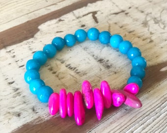 Pink and Turquoise Bead Bracelet , Turquoise Agate Bracelet, Pink Bead Bracelet, Pink Spike Bead Bracelet, Turquoise Bracelet