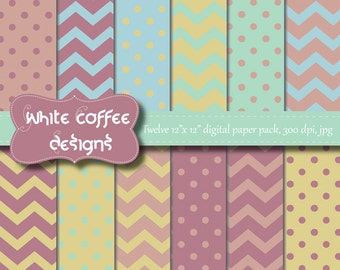 Scrapbook paper, digital paper, polka dot paper, chevron paper, blue, beige, purple paper, baby paper, instant download, cij, premade pages
