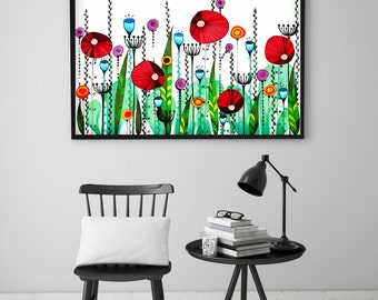 "Original Drawing - Poppy Meadow - 8.5x12"" up to 24x34"" Art Print, Wall Decor, Illustration"