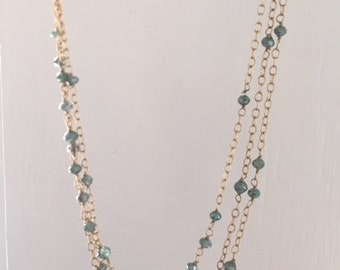 14k Gold and Sapphire Bead Multistrand Necklace Pre-owned