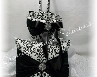 Black and white madison damask with dark red wedding flower black and white madison damask wedding ring bearer pillow and flower girl basket mightylinksfo