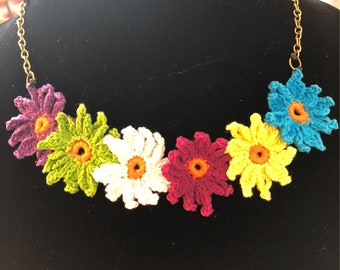 Colourful crocheted flower necklace
