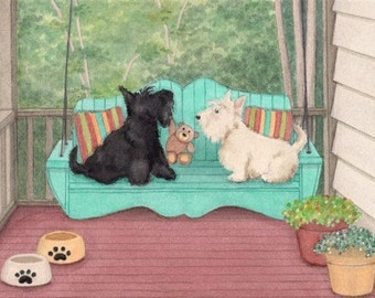 Pair of scotties share a porch swing / Lynch signed folk art print
