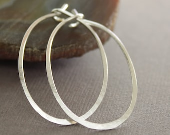 Artisan simple oval shape hoop sterling silver earrings -Minimalistic earrings - Modern minimalist earrings - Oval hoop earrings - ER049