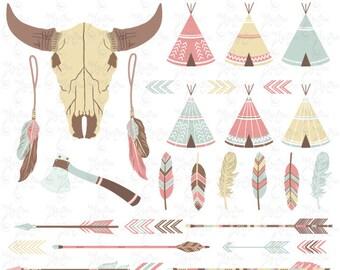 Pack clipart tribal: «Indien CLIP ART», les tentes tipi, tête de mort, buffle, bison, plumes, flèches, frontières, clipart indien, invitation, Trb002