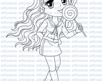 Digital Stamp-Lollipop Leslie, Digi Stamp, Coloring page, Printable Line art for Card and Craft Supply, Art by Mi Ran Jung