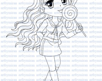 Digital Stamp-Lollipop Leslie, Digi Stamp, Coloring page, Printable Line art for Card and Craft Supply, Art by Mi Ran Jung