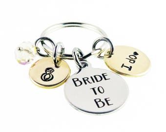 Bride to Be Hand Stamped Key Chain -Wedding Day I Do Charm - Zipper Charm - Best Day Ever Wedding Gift - expressions bracelets