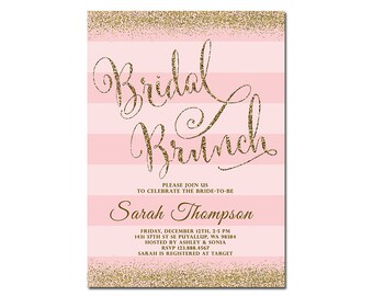 Bridal Shower Invitation, Bridal Brunch Invitation, Pink Gold Glitter Bridal Shower Invite