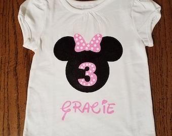 Minnie Mouse 3rd Birthday Vinyl Shirt