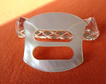 1970 Italian Vintage White Mother of Pearl Sash Belt Buckle