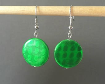 Dangling earrings - round and flat slab beads - green grass finished Pearl oval spots
