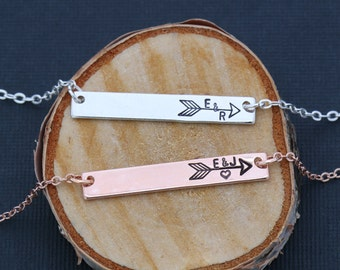 Arrow Necklace Bar • Girlfriend Gift • Rose Gold Arrow Bar Custom • Sister Gift Couple•Personalized Initial Bar Friend Jewelry