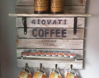 Coffee Sign, Coffee Bar, Coffee Bar Decor, Coffee Bar Shelf, Coffee Decor, Coffee Mug Holder, Coffee, Personalized Coffee Bar, Kitchen Decor