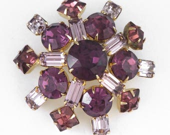 1950s - Superb Vintage Purple & Pink Rhinestones Pin / Brooch