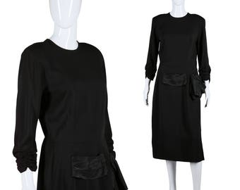 40s Rayon Dress Ruched Sleeves Dress Swag Waist Dress 1940s Black Dress Rayon Crepe