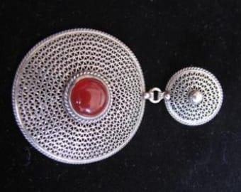 Sterling Silver Filigree Carnelian Pendant