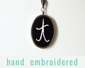 Hand Embroidery. Personalized Initial Necklace. Southern Prep. Made to Order Gifts for her