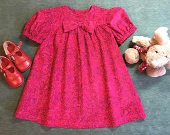 Liberty print babycord girls dress size 3 years