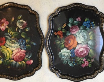 Two Russian Hand Painted Lacquered Metal Tray // 44 x 35.5cm