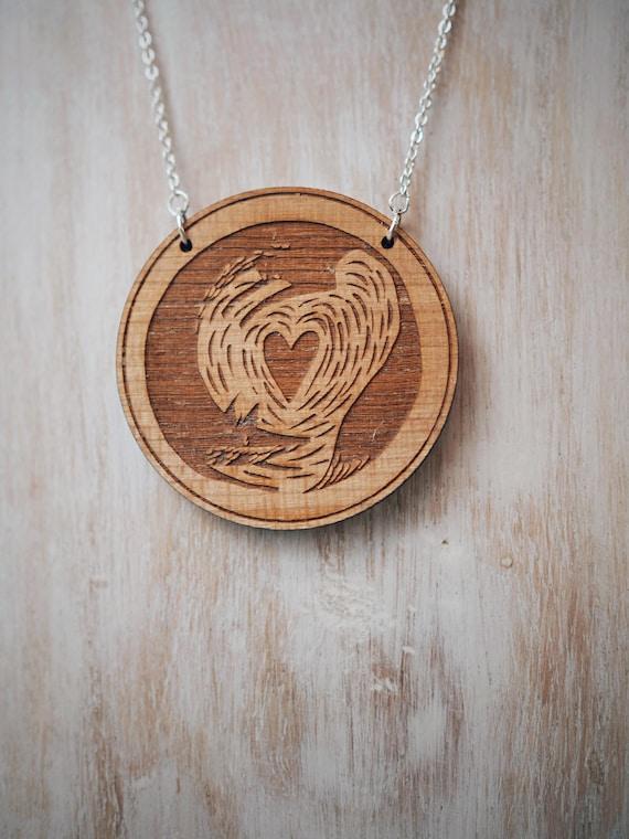 Fox & Cub Necklace - Cherry wood veneer