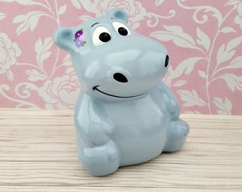 Hippo with Purple Flowers Piggy Bank, Hippo Piggy Bank, Hippopotamus Piggy Bank, Piggy Bank, Bank, Baby Bank, Baby Gift, Blue Piggy Bank