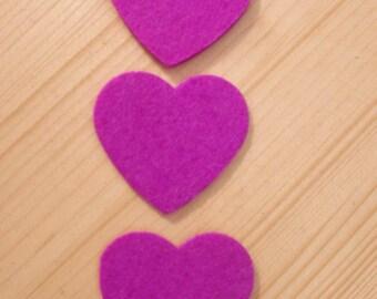 set of 3 hearts felt #1