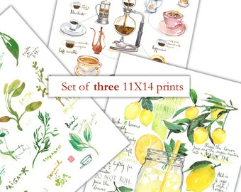 Set of 3 prints, 11X14 posters, Kitchen print set, Watercolor painting, 11X14 prints, Kitchen art prints, Home decor, Colorful kitchen decor