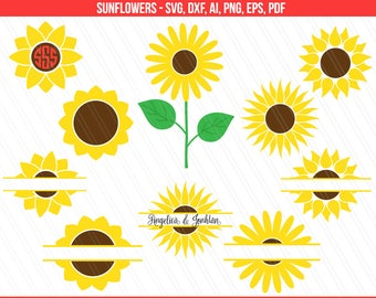 Sunflower svg, Sunflower monogram svg, Flower svg, Flower monogram svg, Cricut, Silhouette, Sunflower Clipart - svg,dxf,ai,pdf,png,eps