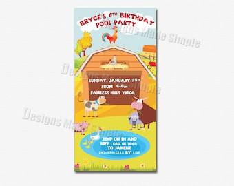 Farm themed Birthday Party Invitation - Printable - Barnyard