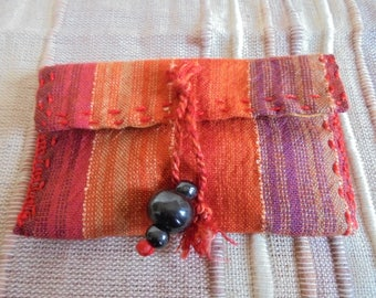 orange for cards or other fabric bag, hand stitched
