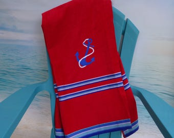 Monogrammed Beach Towel Boys EXTRA LARGE BEACH Towel   Pool Towel   Beach Towel   Anchor Towel   Nautical Towel