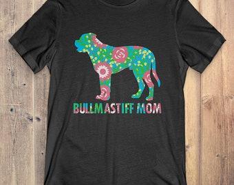 Flower Bullmastiff T-Shirt Funny Gift: Bullmastiff Mom