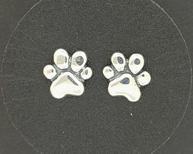 Paw Print Stud Earrings in Gold Made To Order