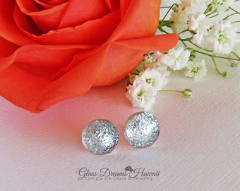 Shimmering Silver Glass Stud Earrings, Artisan Glass Studs, Fused Dichroic Glass Jewelry, Hawaii Handmade Jewelry, Sparkling Silver Studs