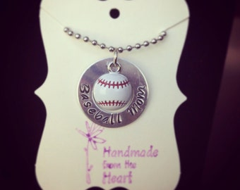 Baseball Mom Handstamped Necklace with Baseball Charm