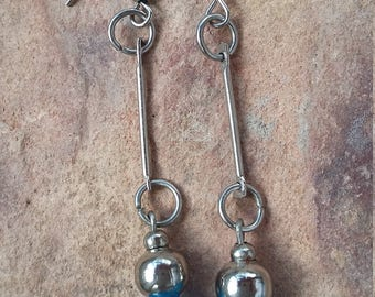 Dangle drop earrings,simple,modern jewellery,blue silver,modern,fashion,trendy,elegant,light,simple,minimalist,holiday earrings,female gift
