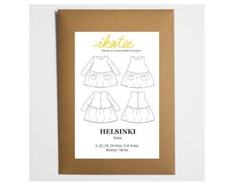 Pattern dress HELSINKI by Ikatee baby 6 months to 4 years
