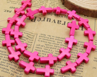 12x16mm Dyed Cross Hot Pink Turquoise beads Loose Strand,Gemstone beads,Loose beads full strands 15.5 inch