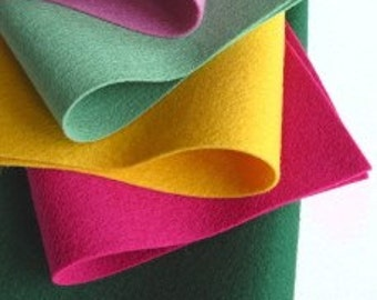 100% Wool, Felt Fabric Set, Roses Color Story, Rose Pink, Bottle Green, Magenta, Butter Yellow, Pine Tree, Felt Flower Supply, Wool Fabric