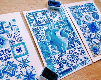 Watercolor postcards set. Art to give. Notes to send. Postcards Blue Set. Postcard watercolor art. Set of 3. Bohemian set. Mexican style.