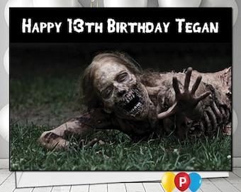 Personalised walking dead zombie Birthday Card