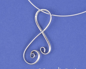 Large Silver Spirally Yvonne Pendant, Argentium Sterling Silver Double Spiral Necklace SN30