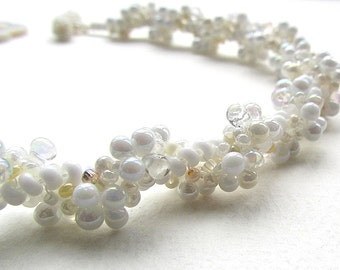 Bubbly Bridal Beaded Necklace, Spiral Necklace, Glass Beads, White, Pearl, Cream, Wedding Choker, Metal Free Necklace