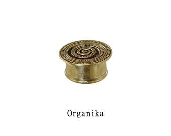 "Brass - Tunnel - Plug - Mandala - 6mm (2g) - 8mm (0g) - 10mm (00) - 12mm (1/2"") - 14mm (9/16"") - 16mm (5/8"")"
