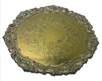 Antique IFS Ltd. I.F.S. Ltd. Israel Freeman & Son Brass Plate / Tray 10-1/2""