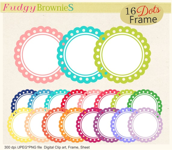 ON SALE, circles frames clip art, birthday frame clip art, circle ...