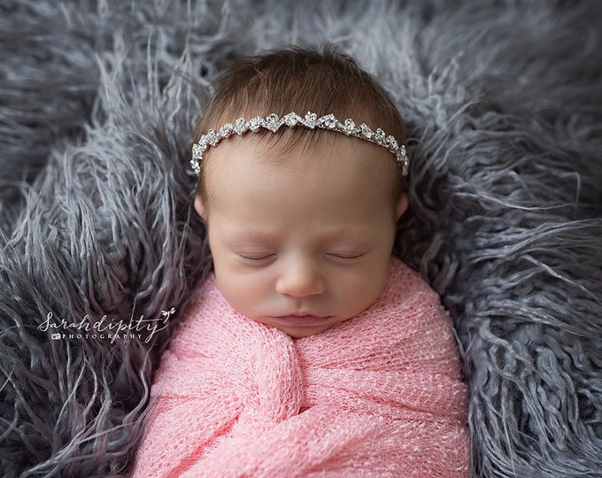 Silver Rhinestone Bling Headband for photo shoots, baby girls, newborn photos, by Lil Miss Sweet Pea